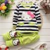 Hello Kitty Stripe Full Sleeve  Dress for Girls_Lemon