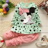 Mickey Mouse Stylish Full Sleeve Winter Dress for Girls_ Green