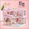 Mini Villa LED Light Princess Bedroom Model Handmade Doll House